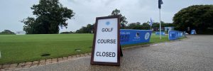 sign displaying Concord Golf Course is closed